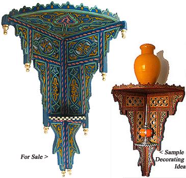 Moroccan Moroccan wood corner shelf